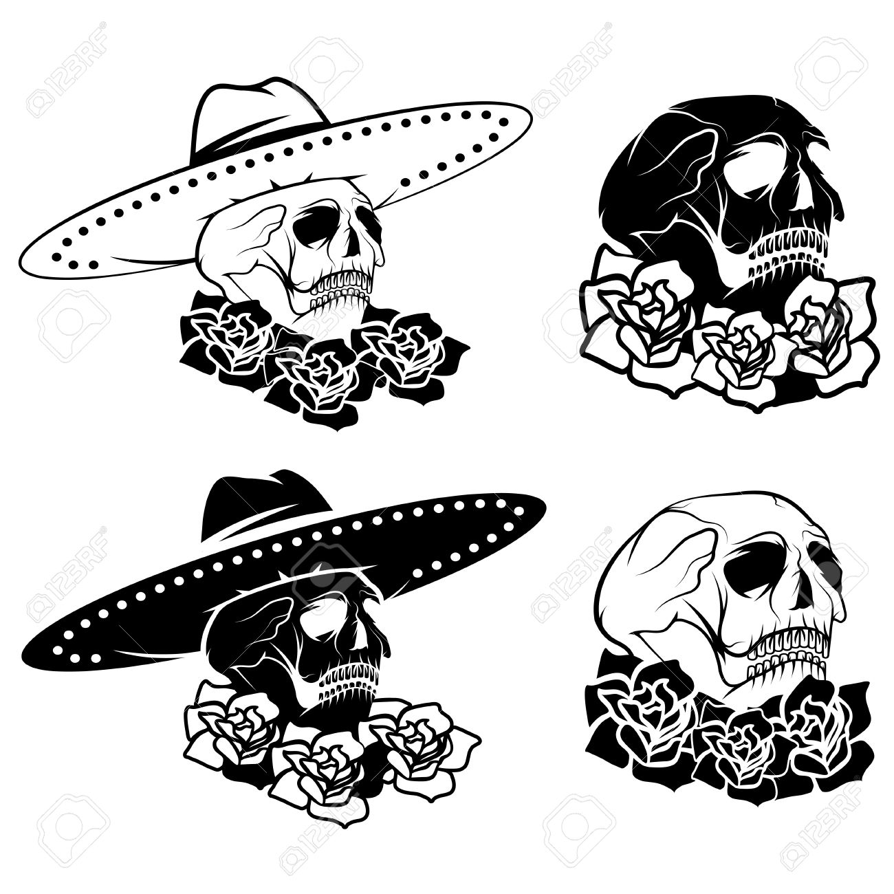 hight resolution of day of the dead skull with flowers and sombrero dia de los muertos stock vector