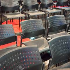 Plastic Chairs With Stainless Steel Legs Queen Anne Chair Replacement Rows Of Grey Metal Arranged On Shiny Floor In Exhibition