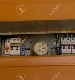 home fuse box electrical equipment old fusebox in house stock photo 70259413 [ 1300 x 866 Pixel ]