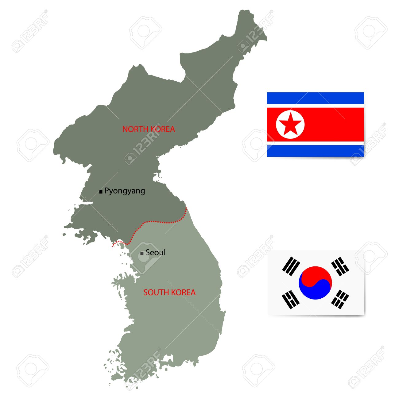 North And South Korea Map With Flags Isolated On White Background Royalty Free Cliparts Vectors And Stock Illustration Image 19165822
