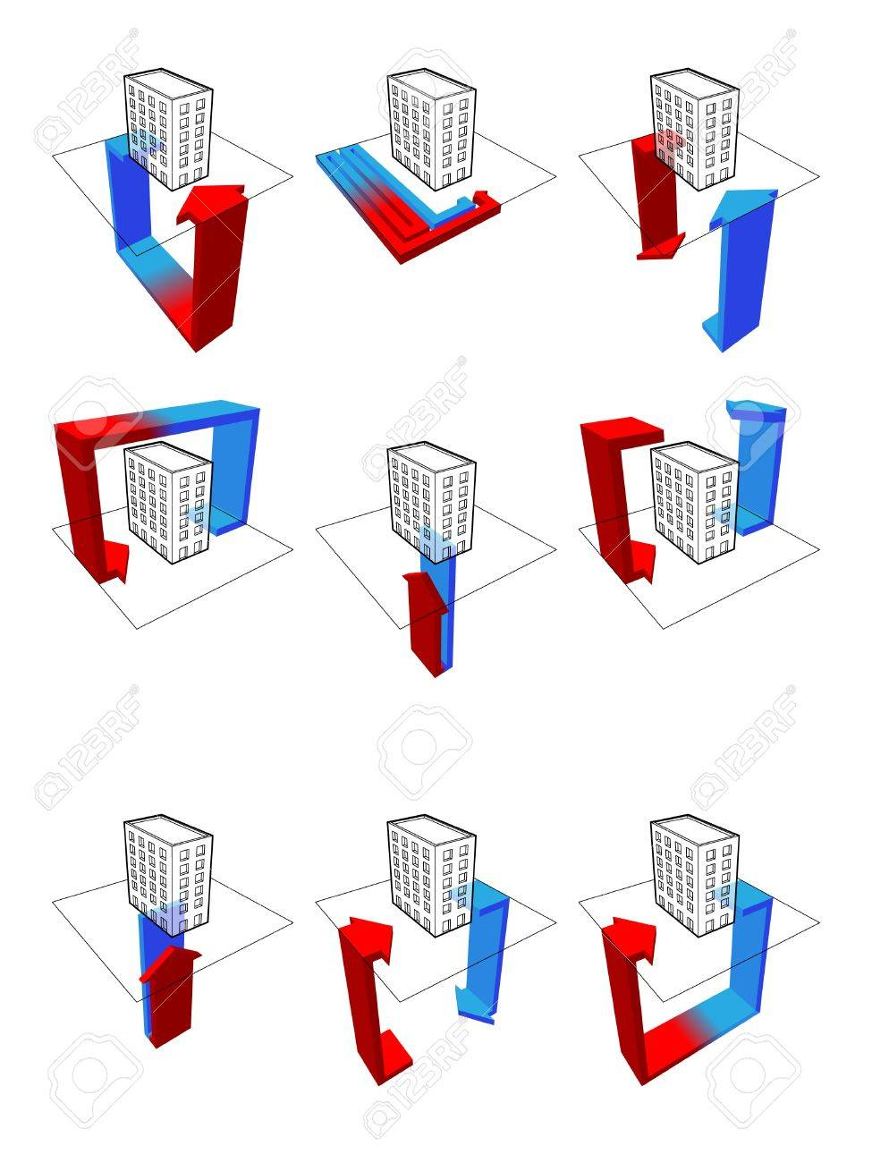 hight resolution of collection of nine heat pump diagrams on example of a apartment house showing possibilities of