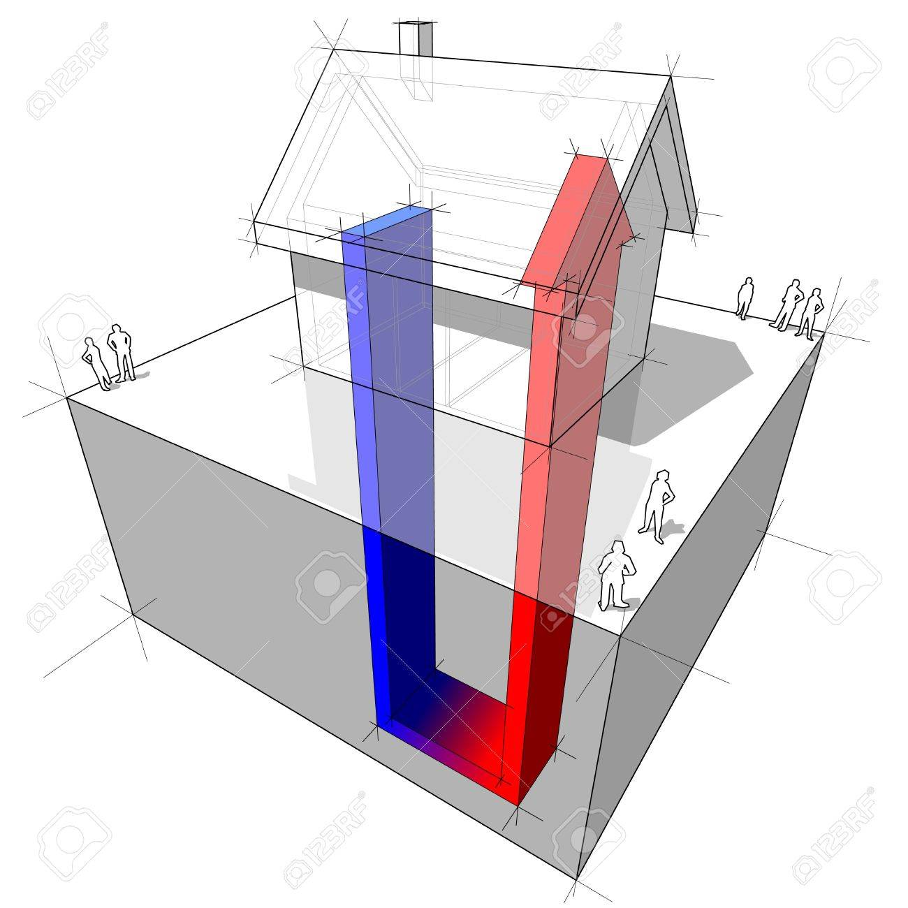 hight resolution of geothermal heat pump diagram stock vector 9930076