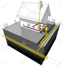 diagram of a detached house with traditional heating natural gas boiler radiators stock vector 21999498 [ 1245 x 1300 Pixel ]