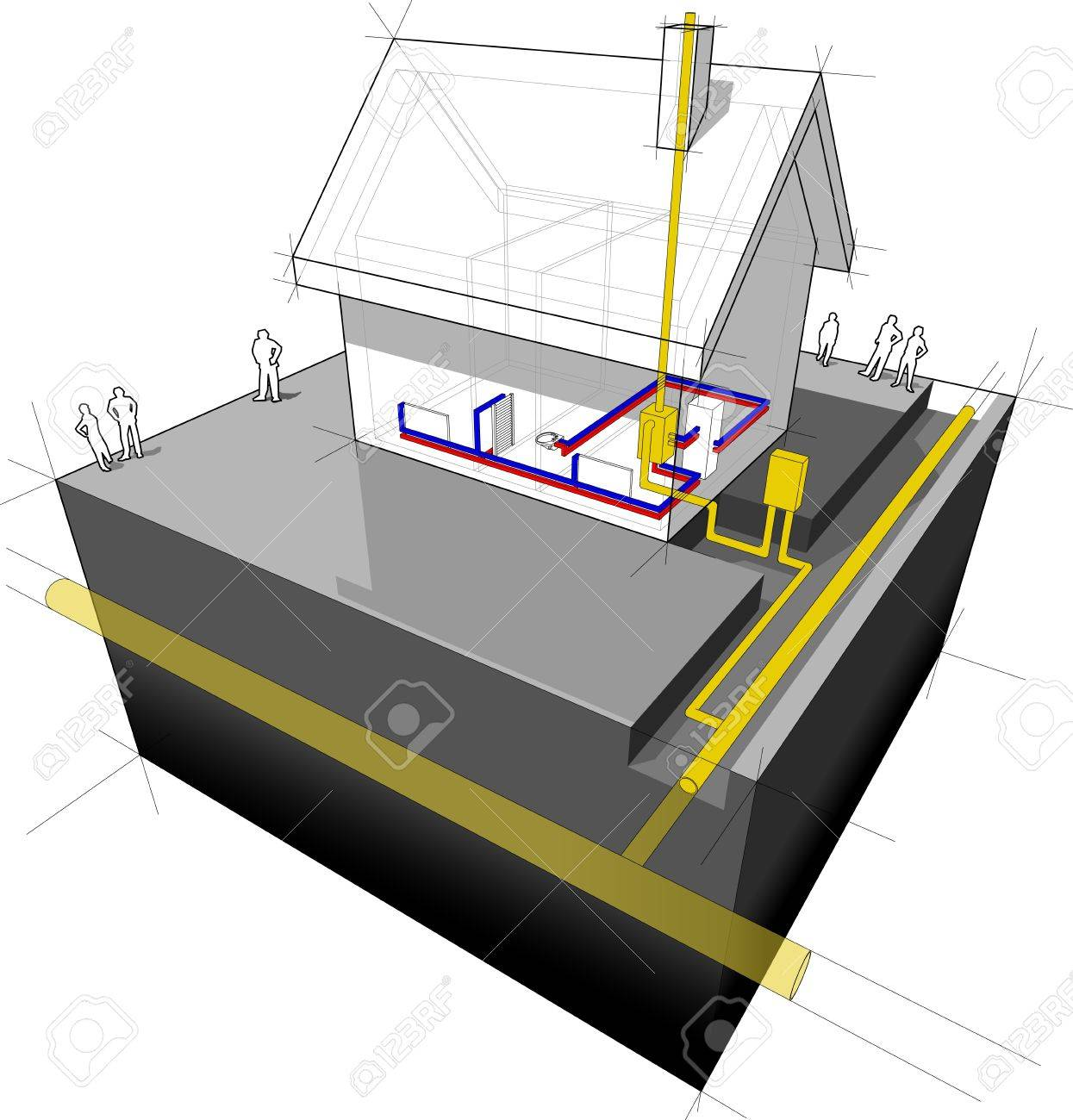 hight resolution of diagram of a detached house with traditional heating natural gas boiler radiators stock vector 21999498