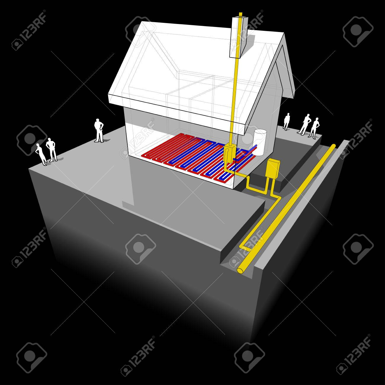 hight resolution of diagram of a detached house with underfloor heating and natural gas boiler stock vector 55657971