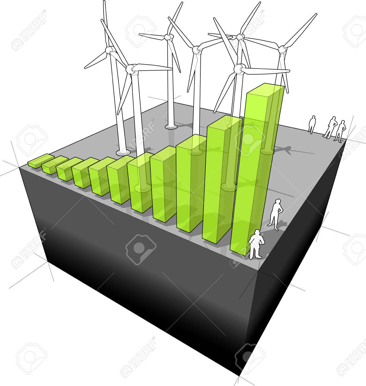 hight resolution of diagram of a wind turbine farm with rising bar diagram meaning the rising importance or booming