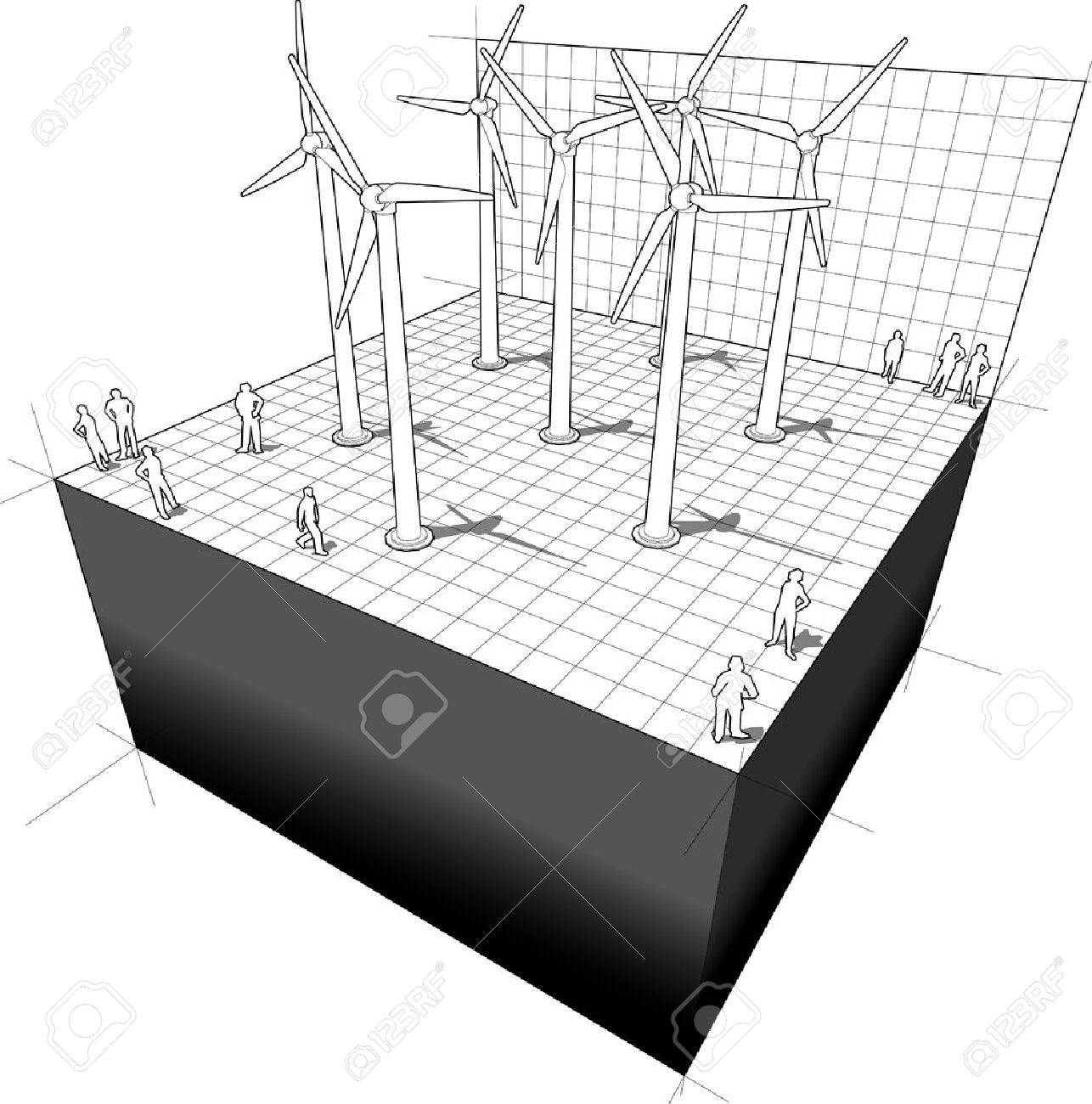 hight resolution of diagram of a wind turbines farm stock vector 59714565