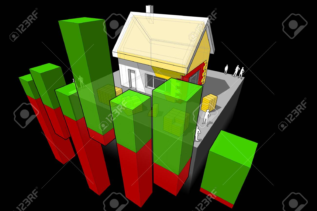 house insulation diagram dvc6200 wiring of a detached with additional wall and roof abstract business stock