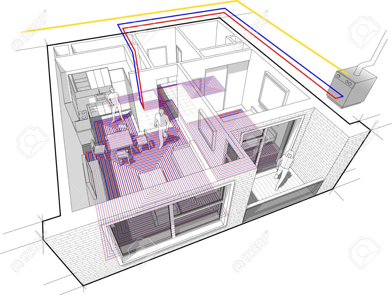 hight resolution of perspective cutaway diagram of a one bedroom apartment completely furnished with hot water underfloor heating and