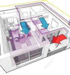 perspective cutaway diagram of a one bedroom apartment completely furnished with hot water underfloor heating and [ 1300 x 981 Pixel ]