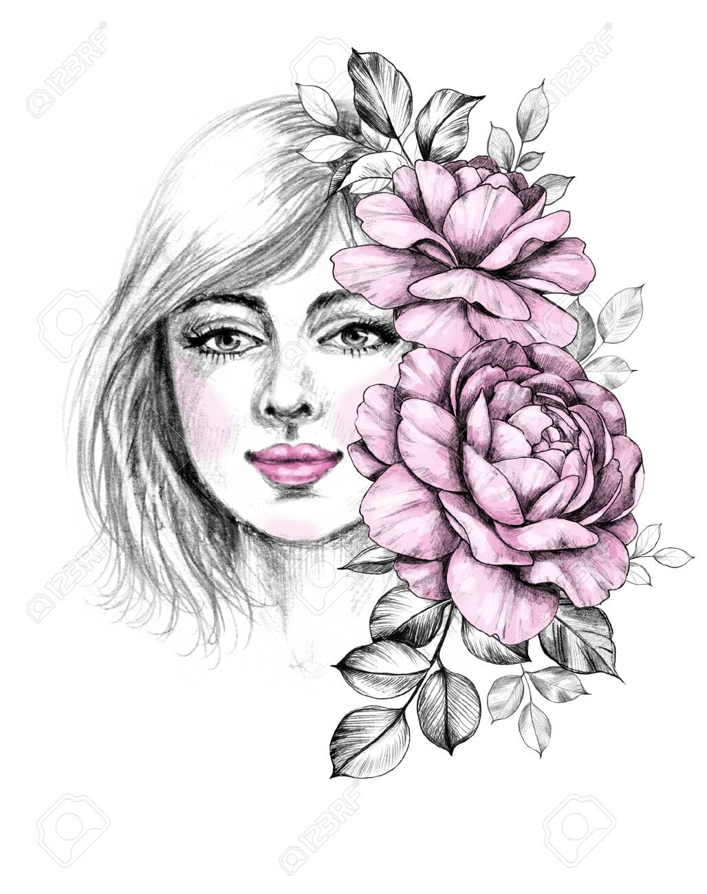 Girl With Flower Head Drawing : flower, drawing, Drawn, Beautiful, Young, Woman, Roses, Bunch.., Stock, Photo,, Picture, Royalty, Image., Image, 133927996.