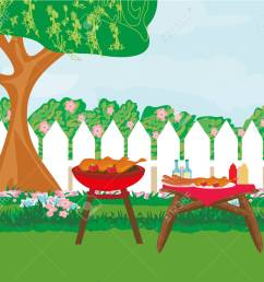 illustration of backyard barbecue stock vector 92785300 [ 1300 x 1143 Pixel ]