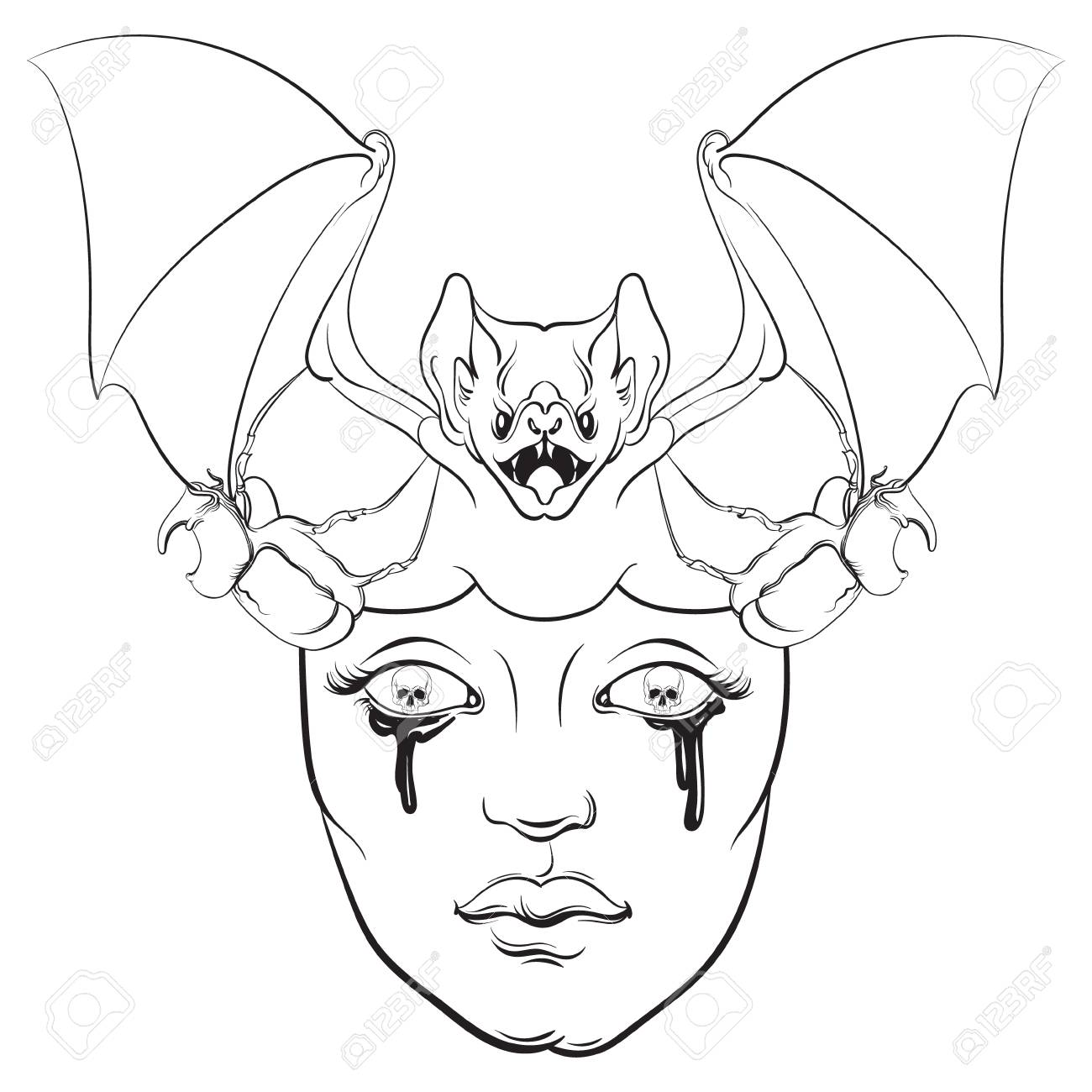 Vector - Vector Illustration In Hand Drawn Realistic Style With Skull And  Bat. Template For Poster Banner Card Print For T-Shirt. Dark Fashion Artwork