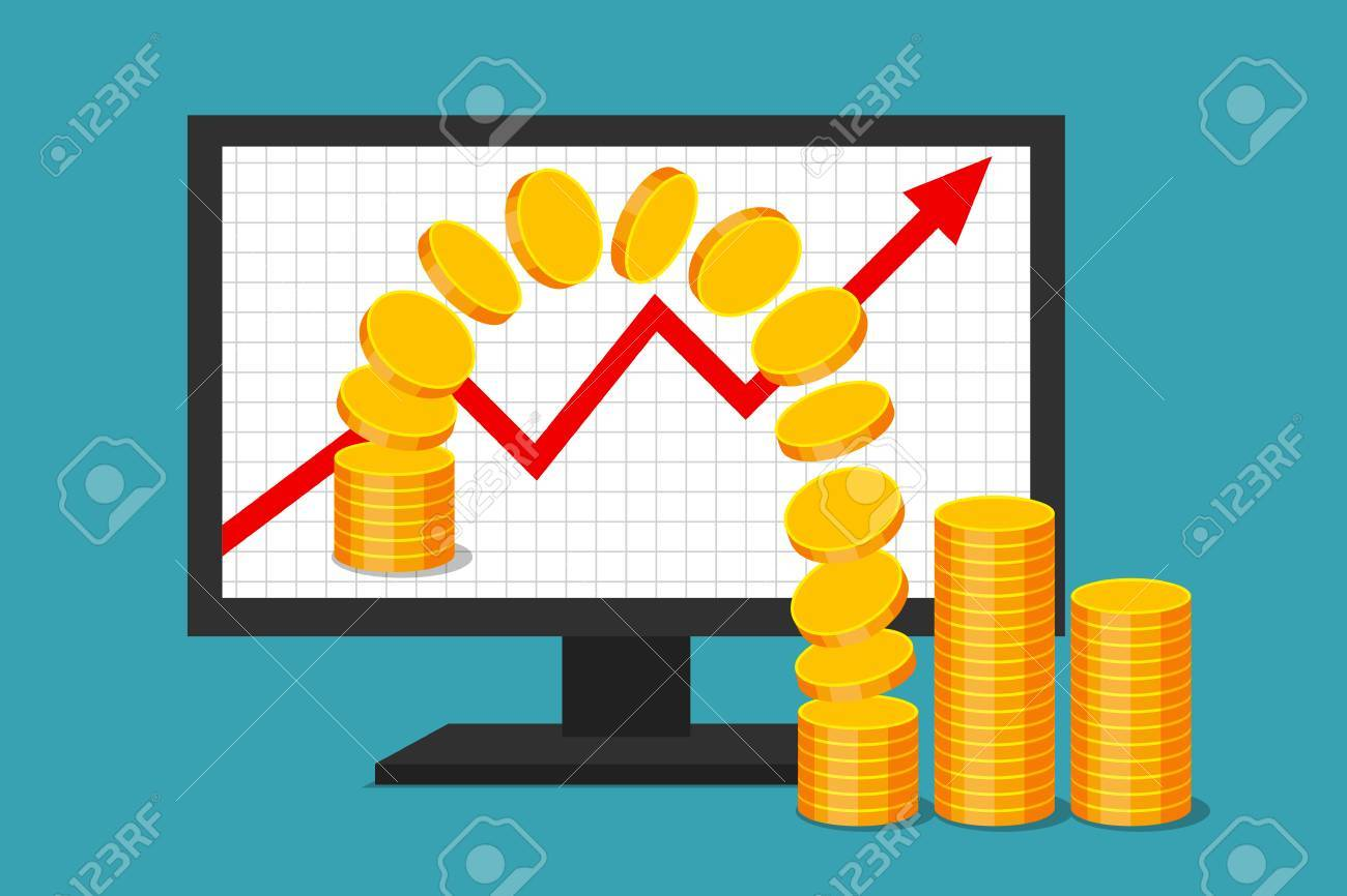 hight resolution of monitor with graph of income growth gold coins are moving from virtual environment to reality