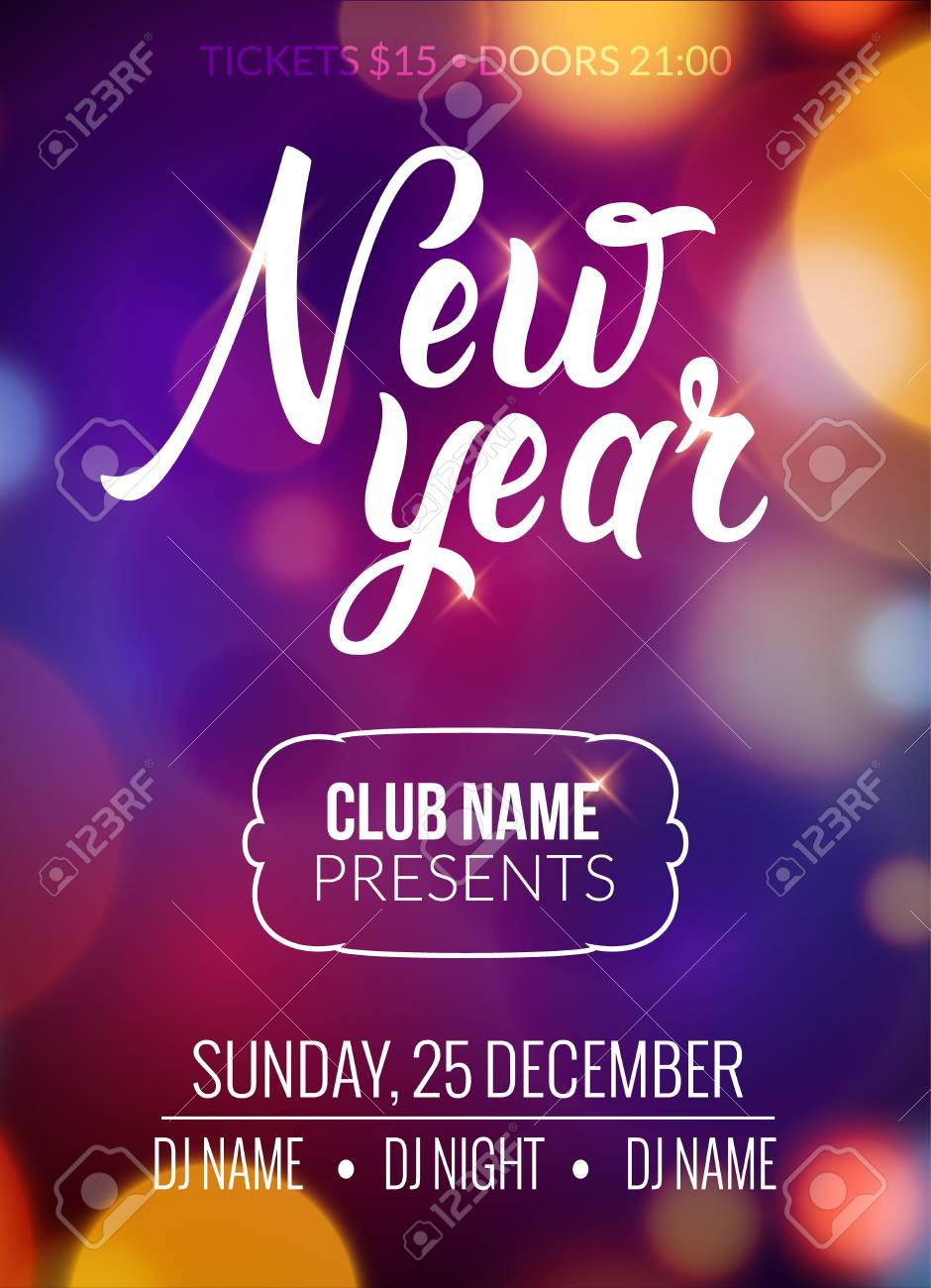 New Year Party Design Banner. Event Celebration Flyer Template Bokeh  Lights. New Year Festive
