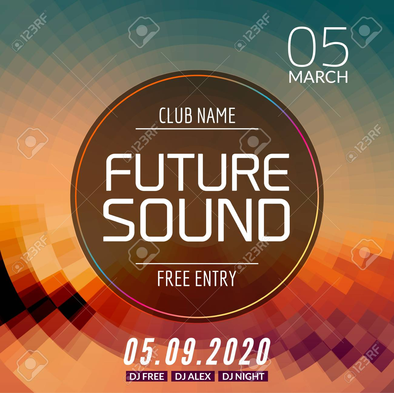 Future Sound Music Party Template, Dance Party Flyer, Brochure. Party Club  Creative Banner