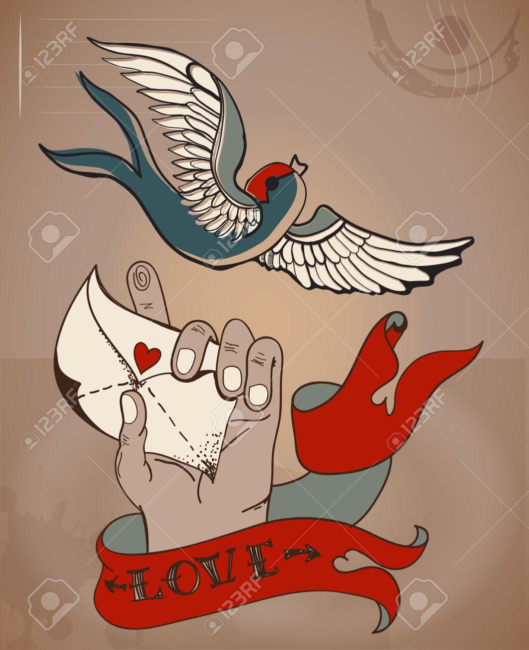Estilo De La Vieja Escuela Del Tatuaje Tarjeta De San Valentín Con