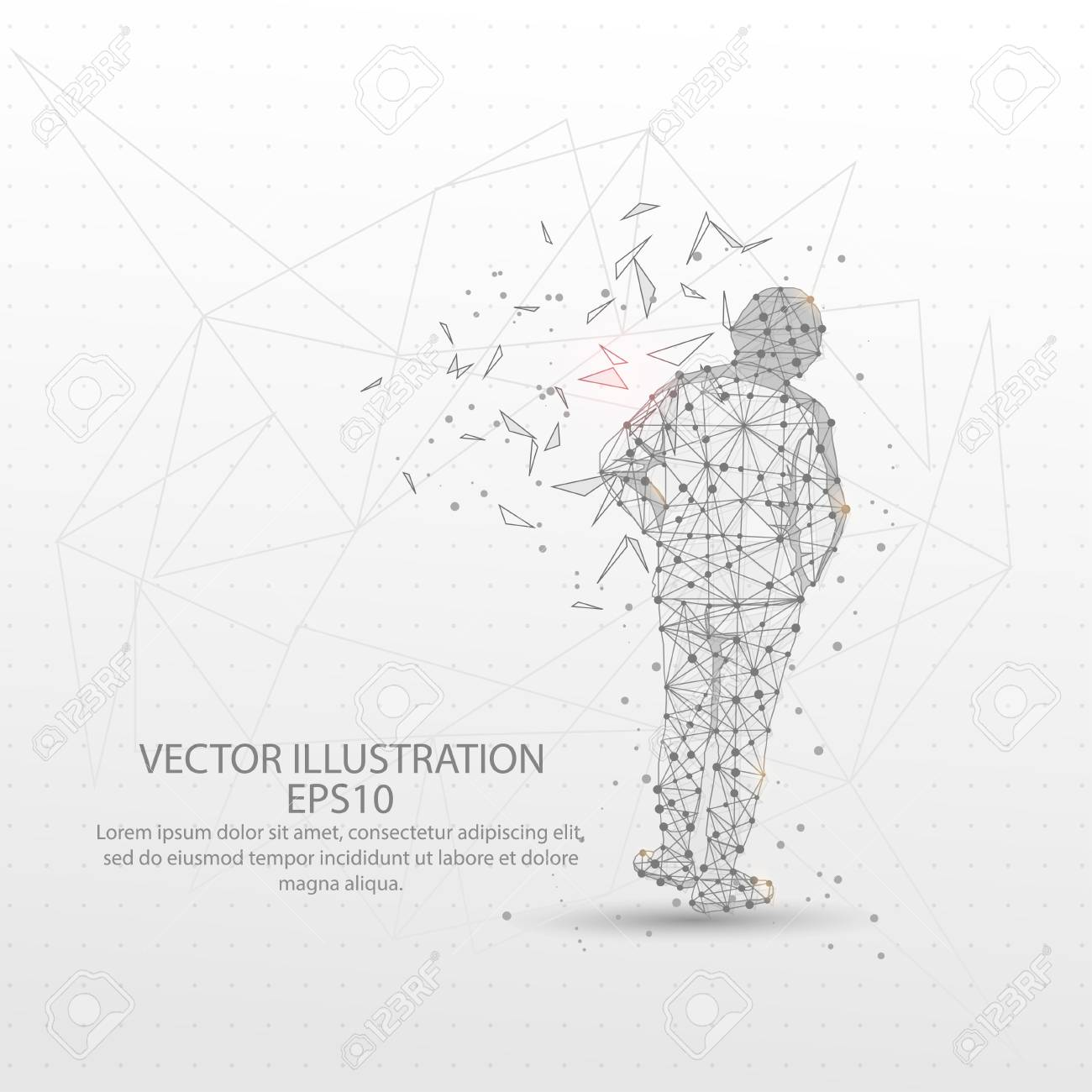 hight resolution of human back view form mesh line and composition digitally drawn in the form of broken a