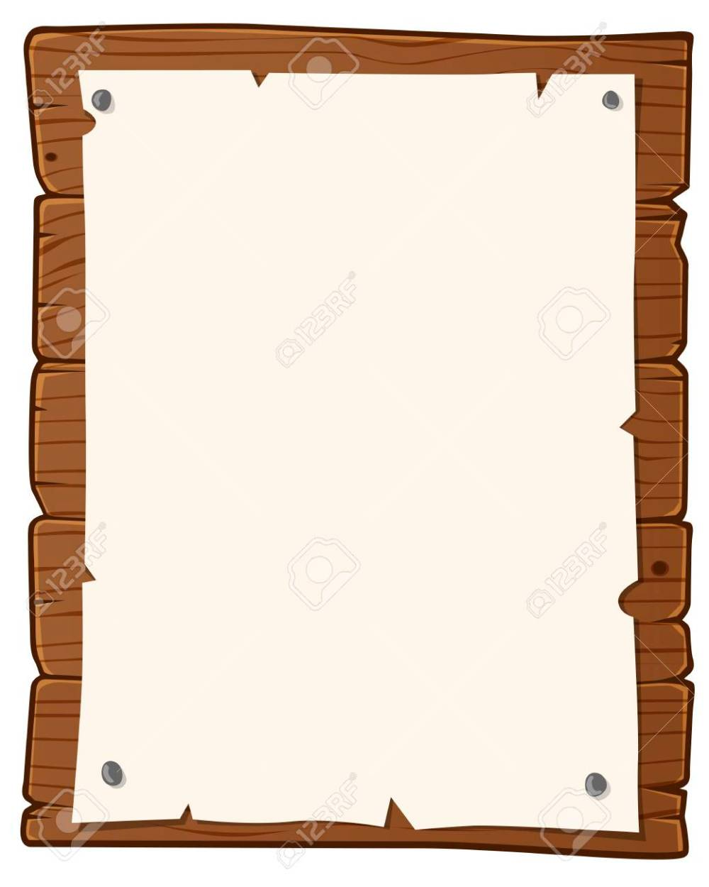 medium resolution of vector wooden bulletin board with paper for writing text