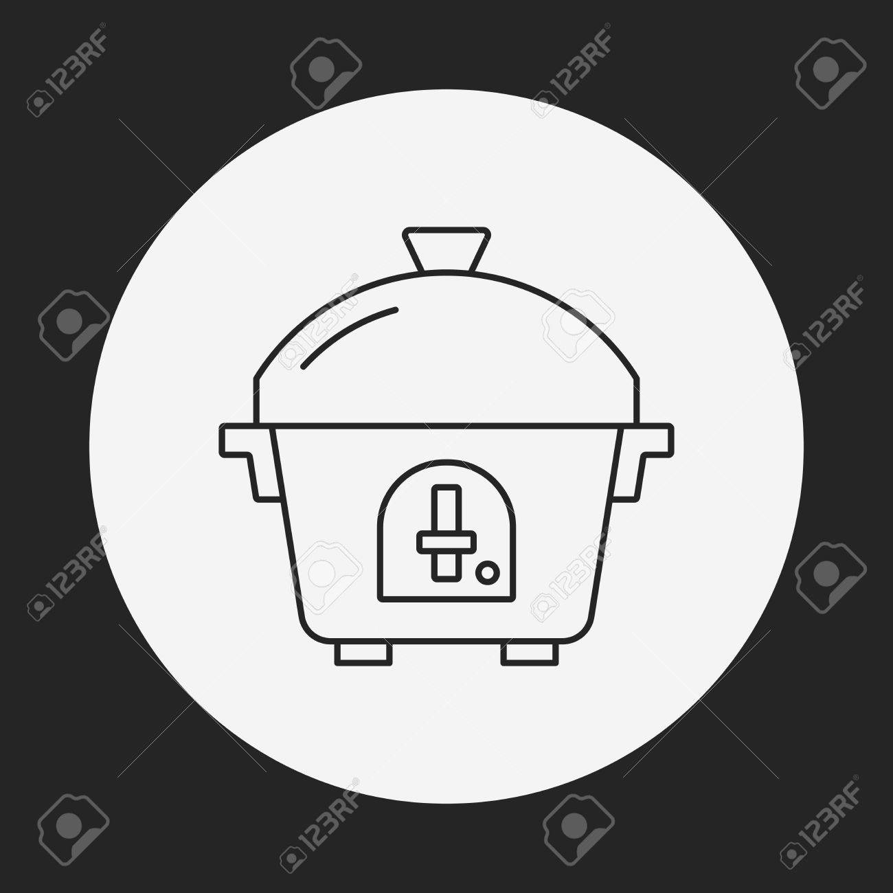 hight resolution of rice cooker line icon stock vector 41620846
