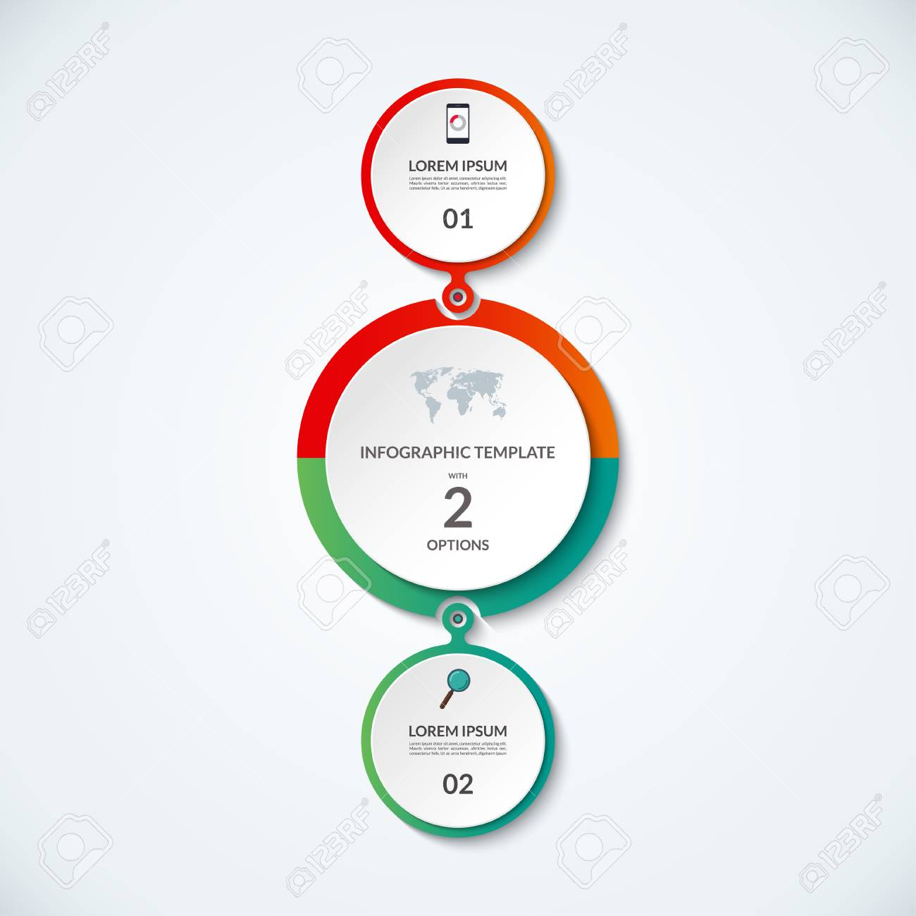 hight resolution of infographic banner with 2 options circular template that can be used as round chart