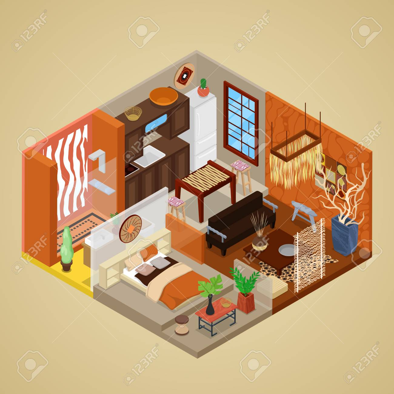 african style living room design interior ideas indian with and kitchen isometric vector flat 3d illustration stock