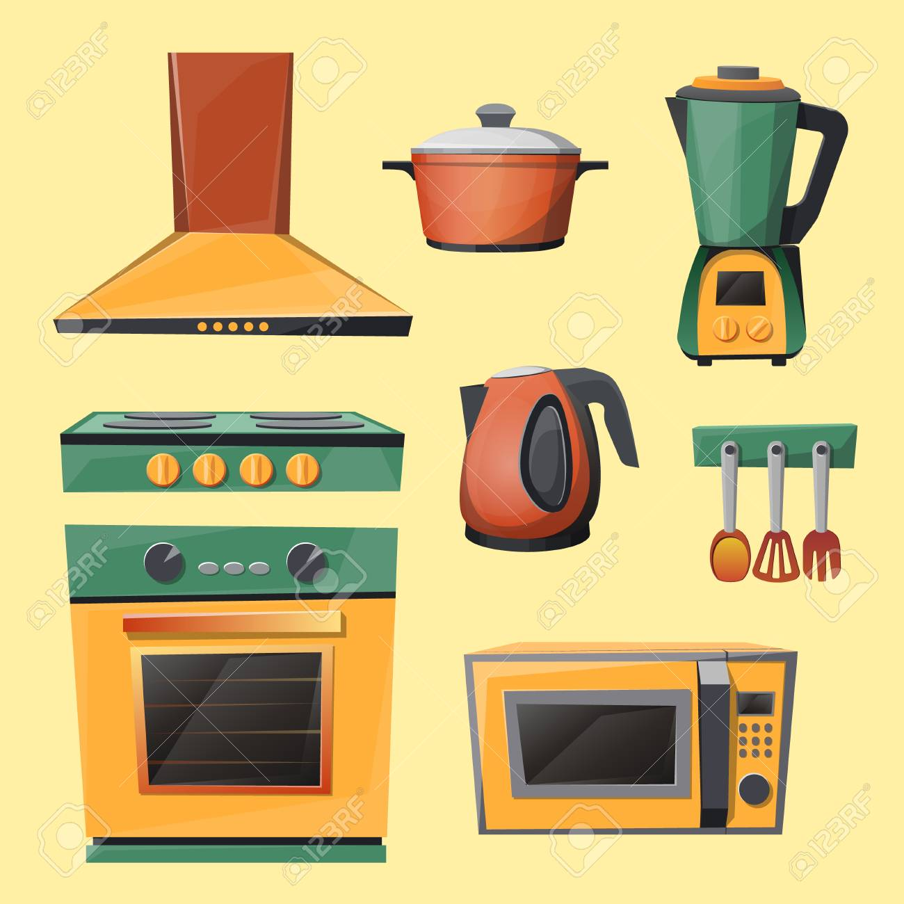 vector cartoon set of kitchen appliances microwave oven kettle