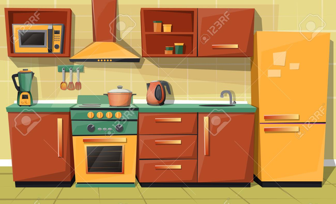 vector cartoon set of kitchen counter with appliances fridge