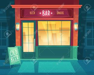 Vector Cartoon Background With Bar At Night Facade Of Building Royalty Free Cliparts Vectors And Stock Illustration Image 103903264