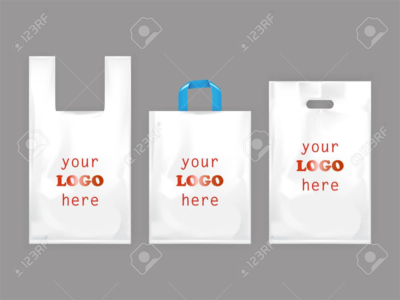 The food shopping bags have dual advantage factor, one it serves as a carrier to carry the goods purchased and two, it acts as a best marketing strategy to spread your brand in the market. White Plastic Shopping Bags Disposable T Shirt Bag Packaging Set Realistic Illustrations Isolated On Gray Background Mock Up Template Ready For Brand Design Stock Photo Picture And Royalty Free Image Image 106460714