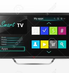smart tv set menu on lcd screen mock up of plasma television with program  [ 1300 x 812 Pixel ]