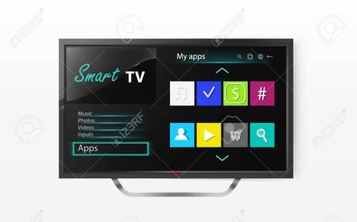 small resolution of smart tv set menu on lcd screen mock up of plasma television with program