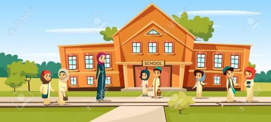 Muslim School Vector Illustration Cartoon Children And Teacher Royalty Free Cliparts Vectors And Stock Illustration Image 95996264