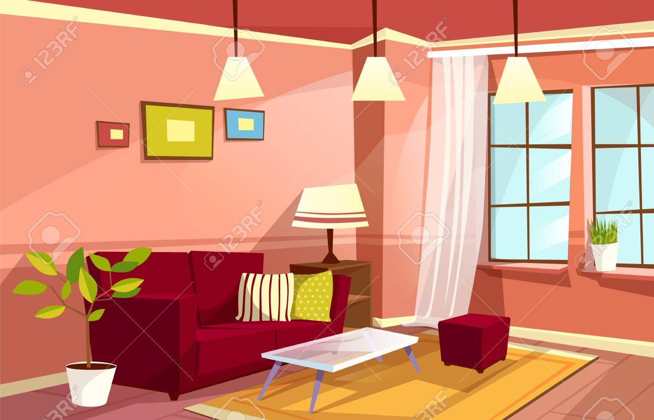 Cartoon Living Room Interior Background Template Cozy House Stock Photo Picture And Royalty Free Image Image 110754683