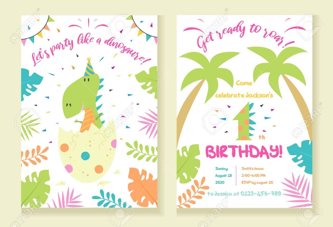 childrens dinosaur party invitation template vector illustration
