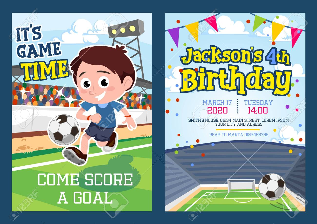 football party invitation template with footballer vector illustration