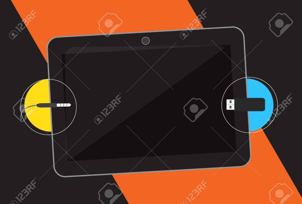 medium resolution of usb and audio jack connection in tablet stock vector 64580971