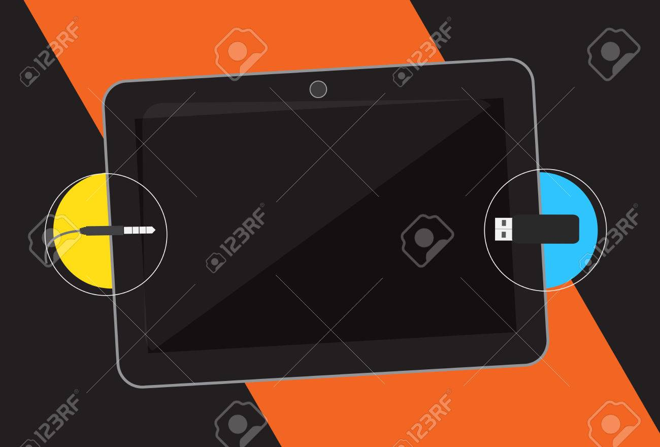 hight resolution of usb and audio jack connection in tablet stock vector 64580971
