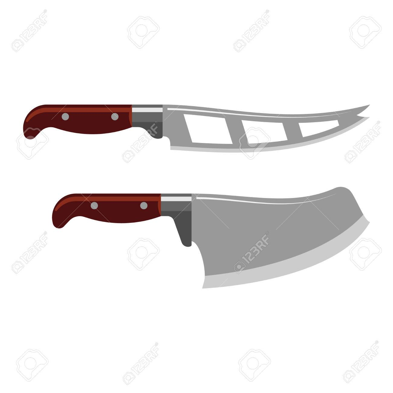 sharp kitchen knives wall tiles steel knife tool cooking equipment vector illustration stock
