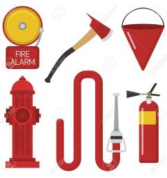 fire safety equipment emergency tools firefighter safe danger accident protection vector illustration stock vector  [ 1300 x 1300 Pixel ]