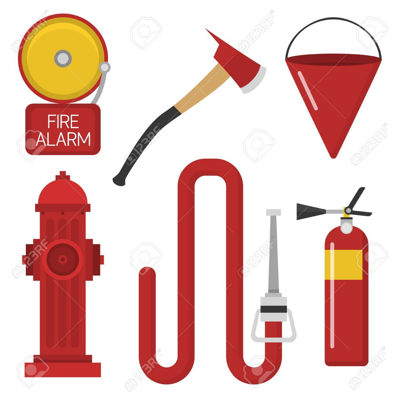 hight resolution of fire safety equipment emergency tools firefighter safe danger accident protection vector illustration stock vector