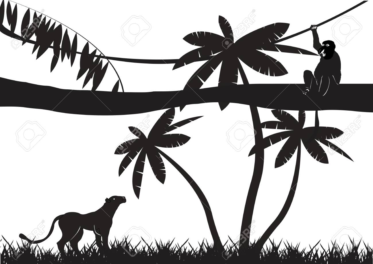hight resolution of jungle animals silhouettes isolated on white stock vector 53326844