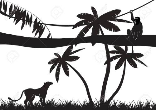 small resolution of jungle animals silhouettes isolated on white stock vector 53326844
