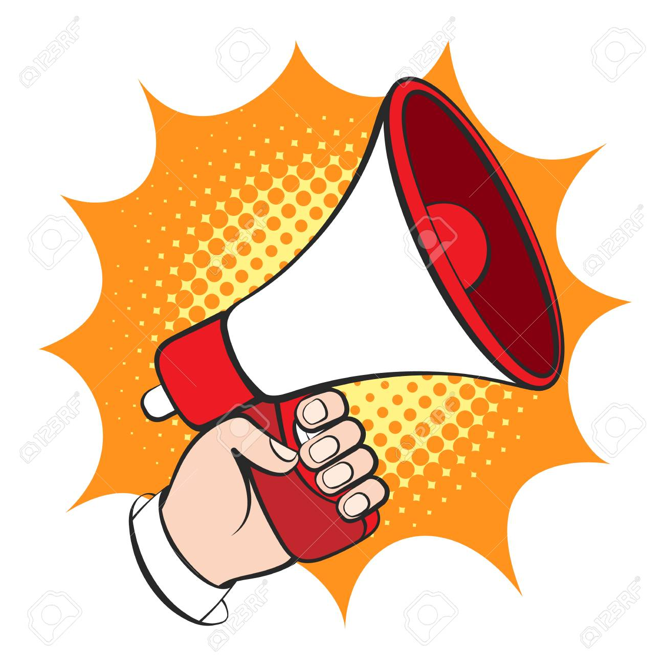 hight resolution of announce bullhorn retro vector illustration business man hand with loud