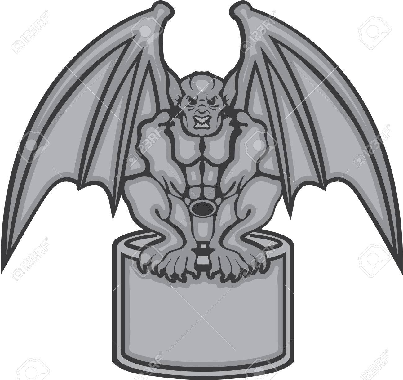 hight resolution of gargoyle stone statue vector illustration clip art stock vector 68043974