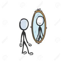 Happy Smiling Man Looking In Mirror. Vector Simple Reflection.. Royalty  Free Cliparts, Vectors, And Stock Illustration. Image 151722210.