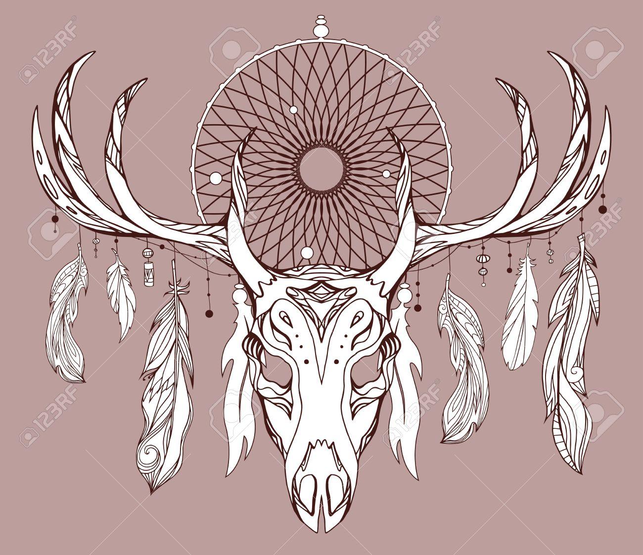 Ilustración De Un Cráneo De Venado Con Cuernos Cazador De Sueños Y