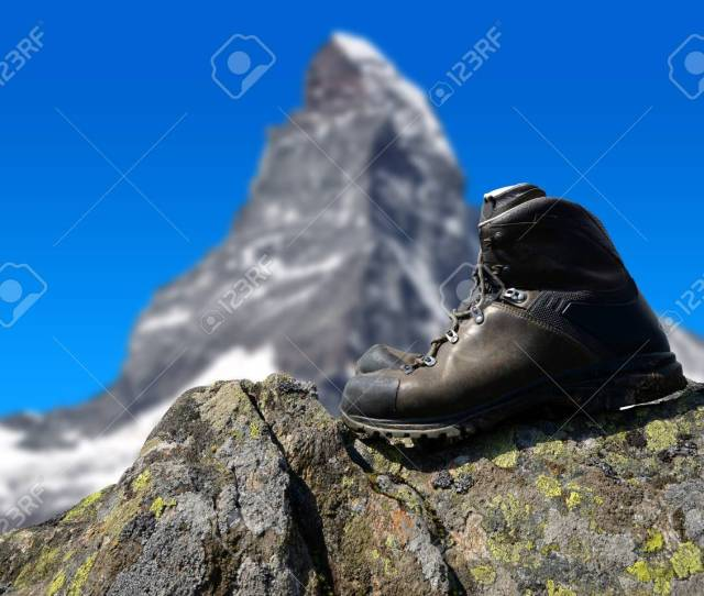Hiking Shoe On The Rock In The Background Mount Matterhorn Pennine Alps Switzerland
