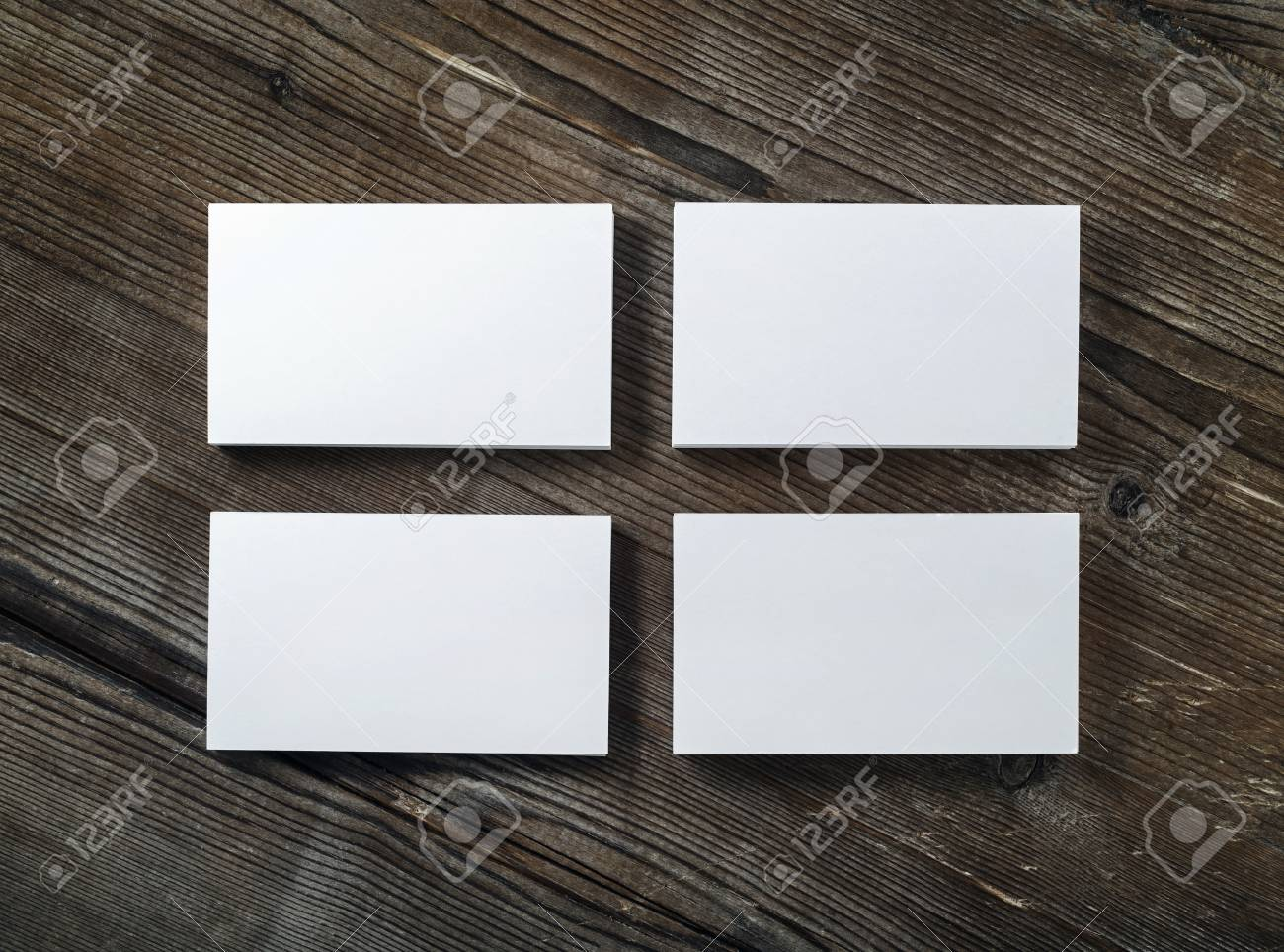 Blank Cardboard Business Cards On A Dark Wooden Table. Template ...