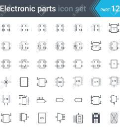 vector set of electronic and electronic circuit diagrams symbols and elements digital electronics flip [ 1300 x 1300 Pixel ]